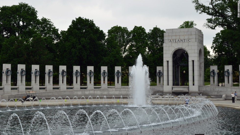 The National World War II Memorial has a prominent position on the Mall.