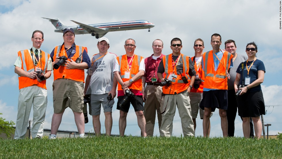 ORD Airport Watch members President Ian Hardie, from left, Vice President Richard Carlson, Gabriel Widyna, board member Steve Bailey, Jeff Gebhardt, Jose Guillen, Matthew Settler, Bob LaCursia, Richard W. Fleer and Ana Peso pose for a picture.