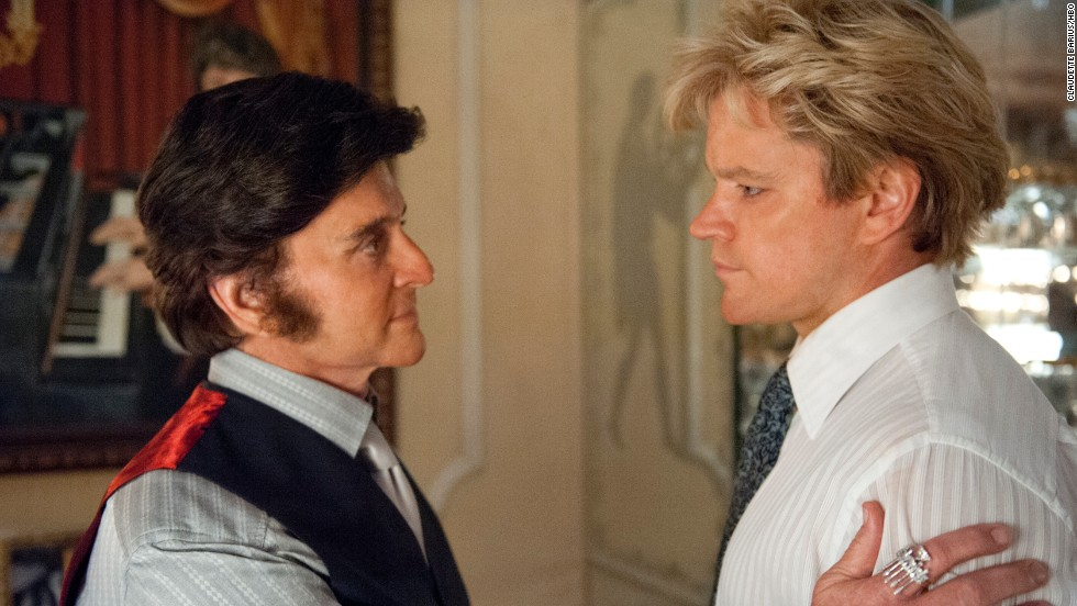 "Michael Douglas stars as Liberace and Matt Damon as Scott Thorson in the Steven Soderbergh-directed film <a href=""http://www.cnn.com/2013/05/24/showbiz/tv/behind-candelabra-review-ew/index.html"" target=""_blank"">""Behind the Candelabra.""</a>"