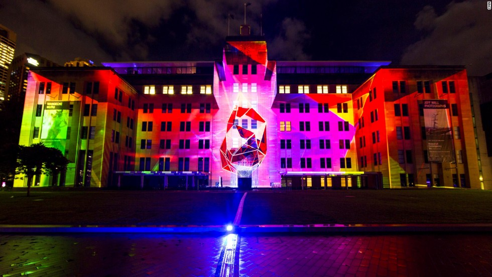 The festival has three parts: Vivid Light, Vivid Music and Vivid Ideas. Here, the Museum of Contemporary Art Australia gets a new life as part of Vivid Light.