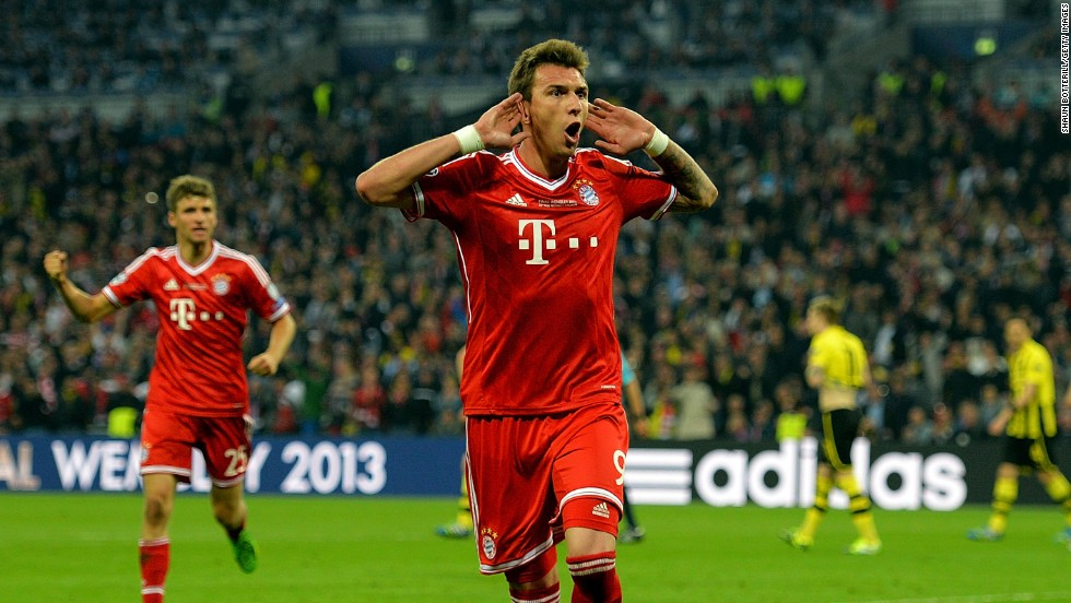 Mario Mandzukic of Bayern Munich celebrates after scoring a goal against Borussia Dortmund during the UEFA Champions League final at Wembley Stadium in London on May 25.