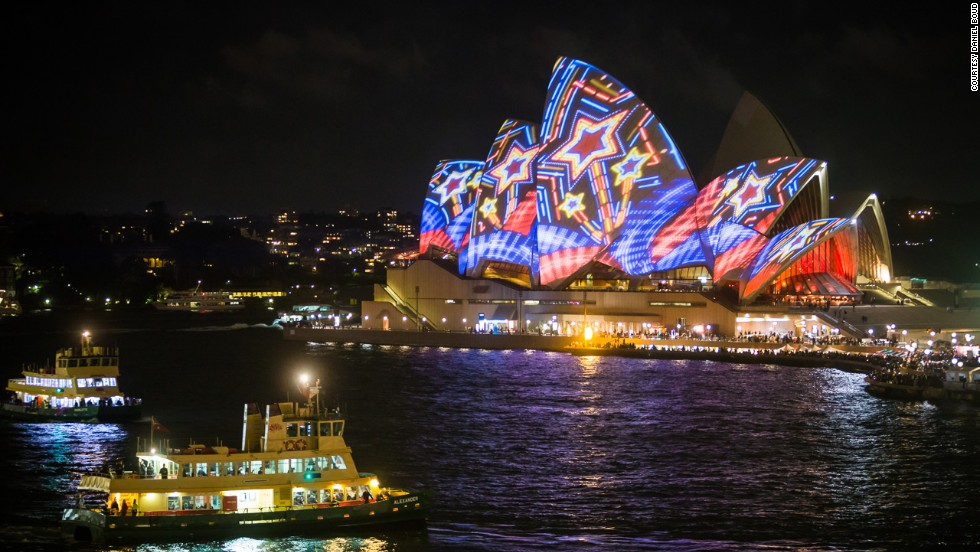 The 3-D-mapped light projections on the Opera House's sails were produced by Australian creative outfit, The Spinifex Group.