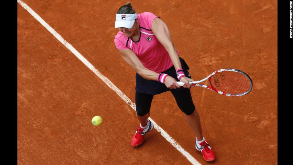 Petrova hits a backhand shot to Puig on May 26.