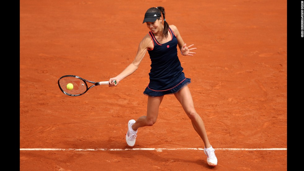 Ana Ivanovic of Serbia plays against Petra Martic of Croatia on May 26. Ivonovic won 6-1, 3-6, 6-3.