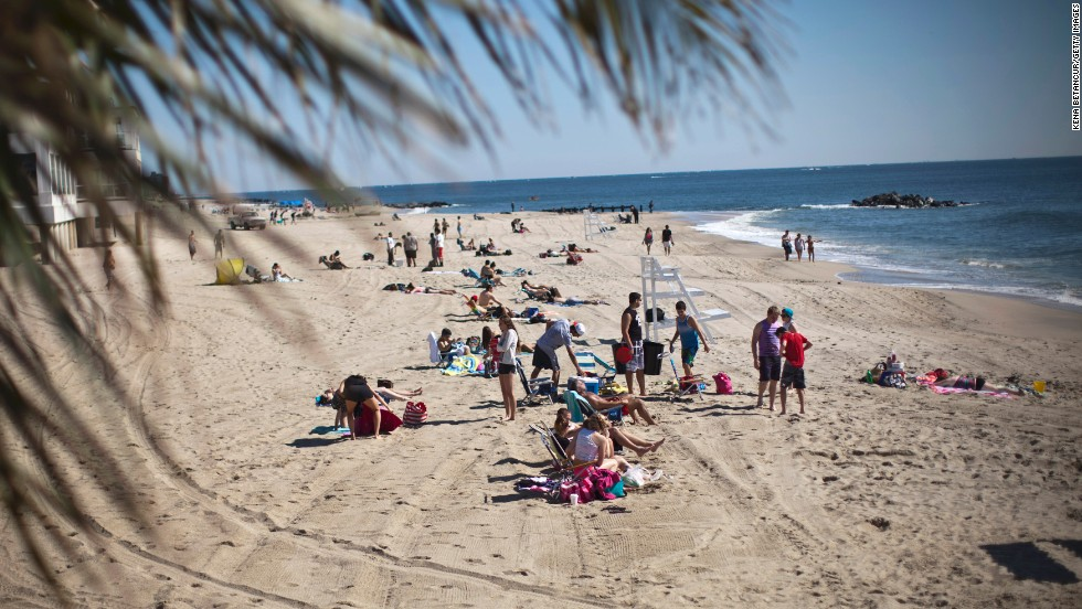 The beach in Long Branch, New Jersey, is open to visitors on May 27, Memorial Day.