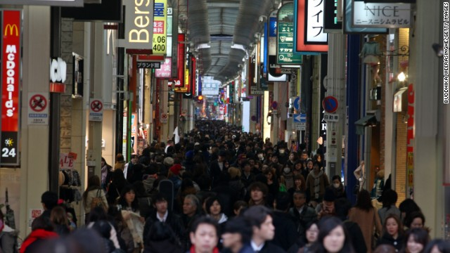 A shopping street in the Japanese city of Osaka on February 6, 2013.