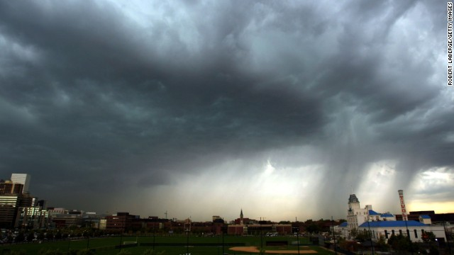 A thunderstorm strikes close to downtown Denver.