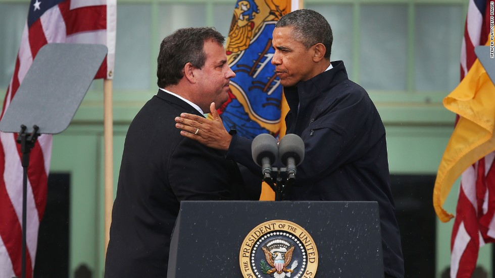 "President Barack Obama greets New Jersey Gov. Chris Christie in Asbury Park, New Jersey, on Tuesday, May 28. ""Down the shore, everything's all right,"" Obama declared on his return to the New Jersey coast seven months after Superstorm Sandy caused billions of dollars in damage there. View photos of the <a href=""http://www.cnn.com/2013/05/27/us/gallery/jersey-shore-reopen/index.html"">Jersey Shore reopening this weekend</a> and <a href=""http://www.cnn.com/2012/10/31/us/gallery/obama-new-jersey/index.html"">Obama's visit to New Jersey in October</a>."