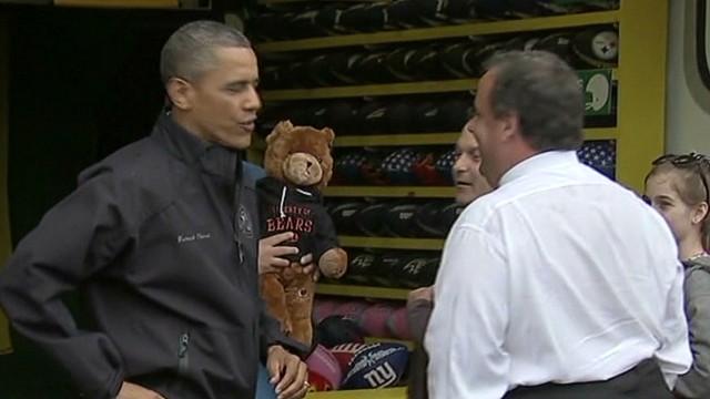 Gov. Christie wins Obama a stuffed bear