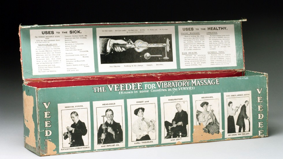 """According to the museum<a href=""""http://www.sciencemuseum.org.uk/broughttolife.aspx"""" target=""""_blank""""> website</a>, the """"Veedee"""" vibratory massager claimed to cure colds, digestive complaints and flatulence. It is believed that the name is a pun on the Latin phrase """"veni vidi vici"""" (I came, I saw, I conquered)."""