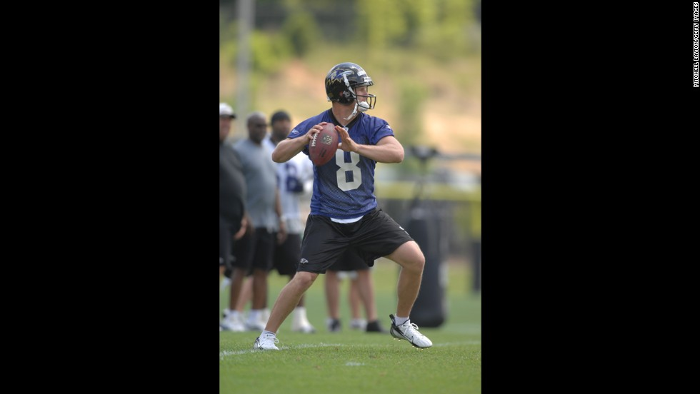 Finnerty practices with the Baltimore Ravens in June 2007 in Owings Mills, Maryland. Finnerty joined the Ravens in 2007 for one year but never played in a regular season game.