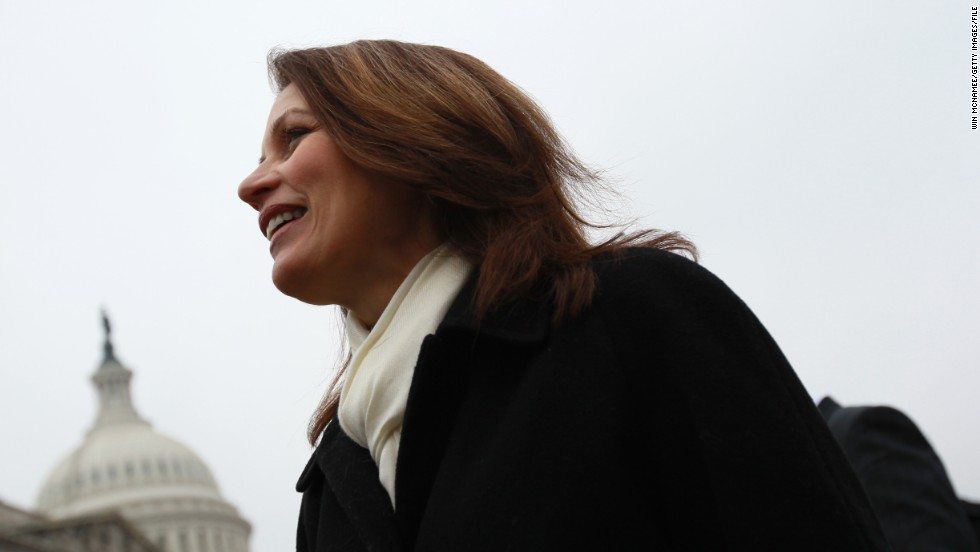 Bachmann at a January 2011 news conference in which Republican House members displayed signed petitions demanding the repeal of health care legislation.