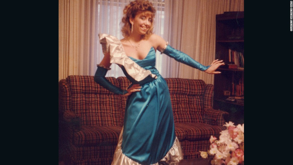 "<a href=""http://ireport.cnn.com/docs/DOC-604471"">Martrese White</a> describes '80s fashions as ""hideous"" now, but is and was proud of all the accessories and creations she made at the time, especially this prom dress in 1986. ""The senior prom was my pièce de résistance -- everything was turquoise blue and silver -- even silver nail polish. And I was SO proud of the matching handbag and shoe rosettes."""