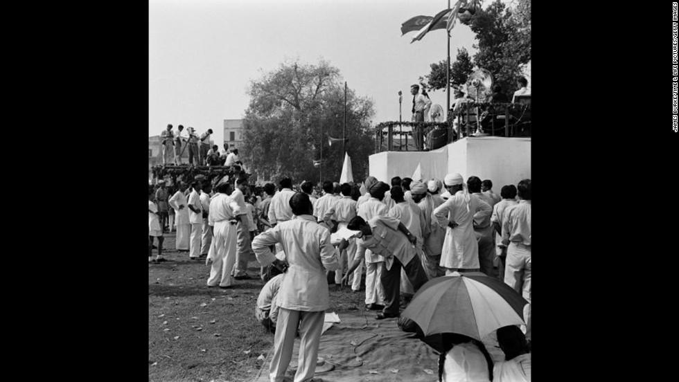 Locals celebrate Hillary and Tenzing in Nepal in 1953.