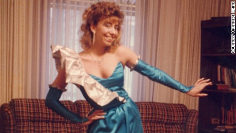 """Martrese White describes 1980s fashions as """"hideous"""" now, but is and was proud of all the accessories and creations she made at the time, especially this prom dress in 1986. """"The senior prom was my pièce de résistance -- everything was turquoise blue and silver -- even silver nail polish. And I was SO proud of the matching handbag and shoe rosettes."""""""