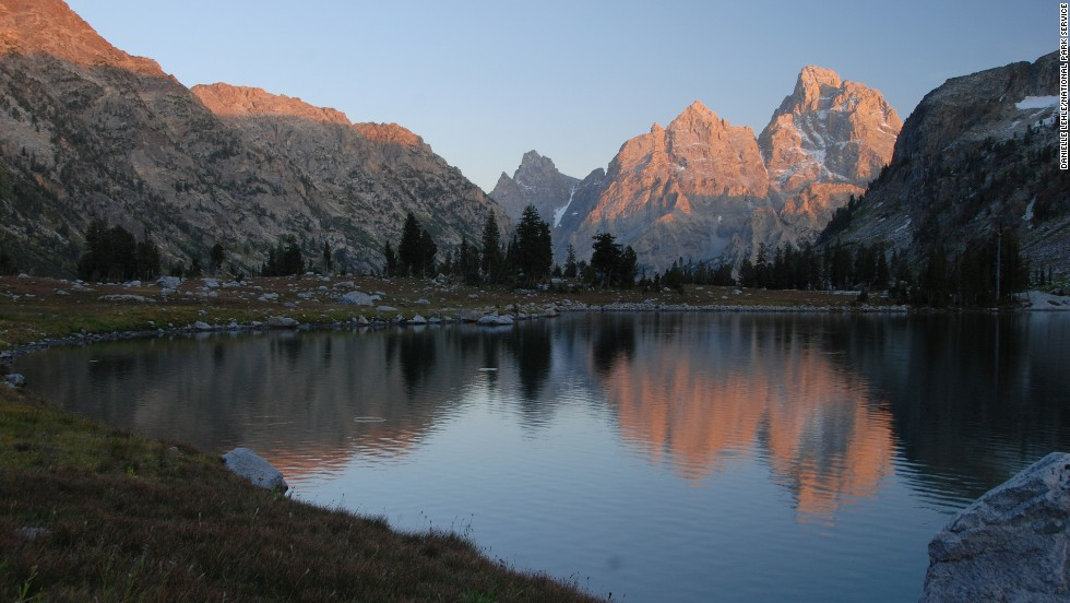 Bergsma loves to watch the sunset at Cascade Canyon, shown here at Lake Solitude in the North Fork of the canyon.