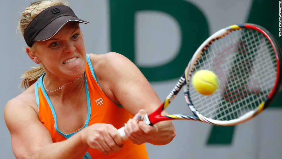 Melanie Oudin of the United States hits a backhand to China's Jie Zheng on May 30.