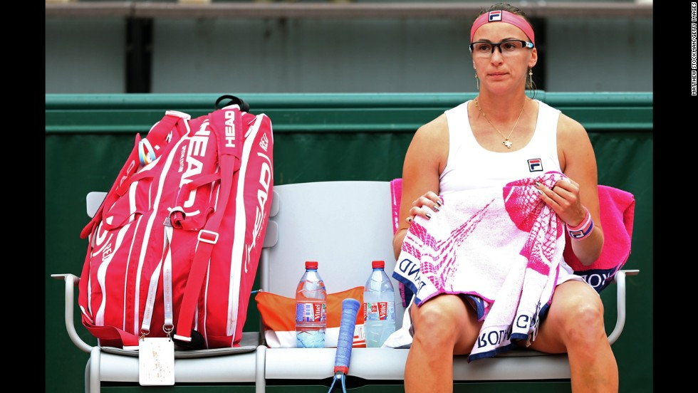 Yaroslava Shvedova of Kazakhstan looks on during a break in her match against Paula Ormaechea of Argentina on May 30.