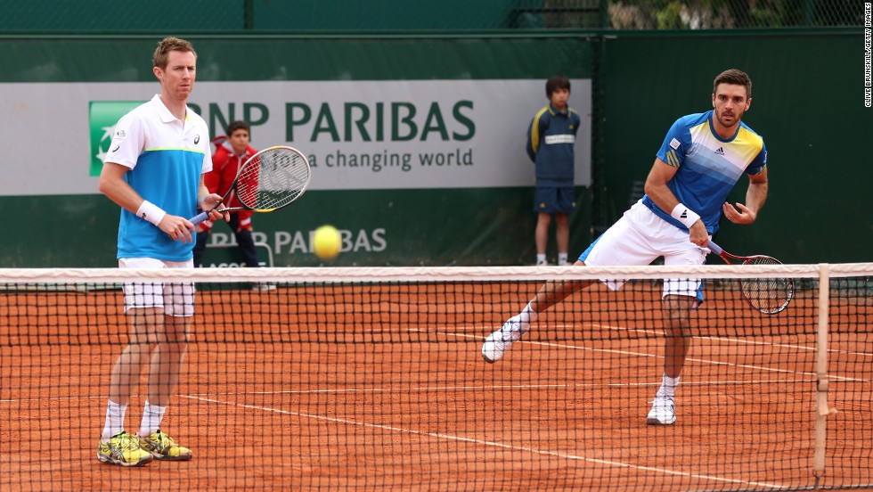 Jonathan Marray, left, and Colin Fleming of Great Britain play Feliciano Lopez of Spain and Andre Sa of Brazil on May 30.