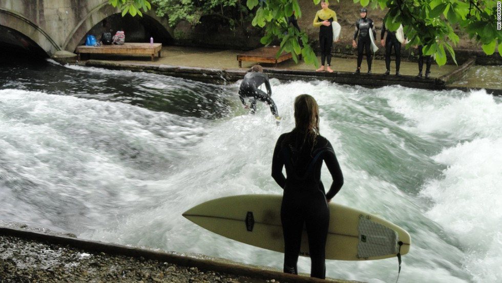 "River surfing is more difficult than any other type of surfing. You've got to surf in place, on a ""stationary"" wave, trying to keep your balance as water churns beneath you."