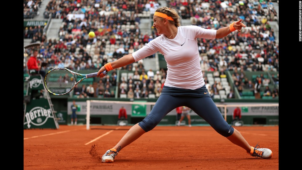 Victoria Azarenka of Belarus plays a backhand to Annika Beck of Germany on May 30. Azarenka defeated Beck 6-4, 6-3.