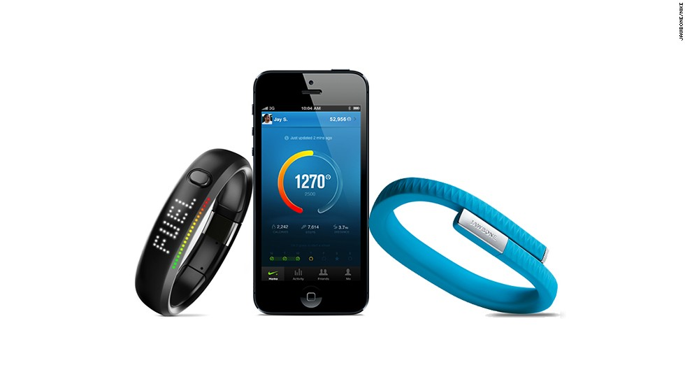 "These tracking devices are worn on the wrist and sync your progress with mobile apps. The <a href=""https://jawbone.com/up"" target=""_blank"">Nike+ Fuel Band</a> lets you connect with friends and see a leaderboard to compare progress."
