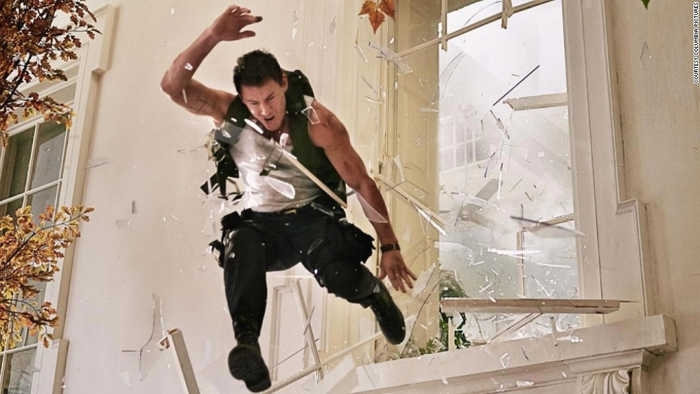 "Don't try this one at home, folks. When the star jumps through a window, there may be a scratch here and there, but don't worry about them getting too cut up. Here, Channing Tatum as John Cale takes a leap in ""White House Down."""