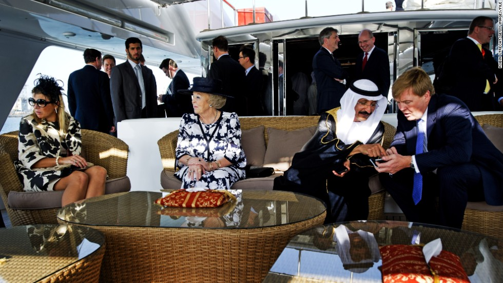 "The United Arab Emirates' Sultan Ahmed Bin Sulayem is the proud owner of the world's second-largest yacht -- somewhat unimaginatively named ""Dubai"". Here, he speaks with King Willem-Alexander of the Netherlands aboard his $300 million luxury vessel."