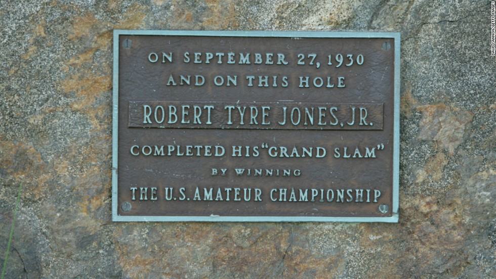 "A commemorative stone on the par-four 12th on the East Course marks the hole on which the great Bobby Jones completed golf's first ""grand slam"" in 1930 by winning the final of the U.S. Amateur."