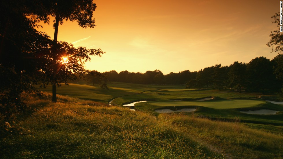 Merion is regarded as one of the most picturesque courses in world golf, and this sunset view from the 10th tee takes in the ninth green with the fourth green in the background.