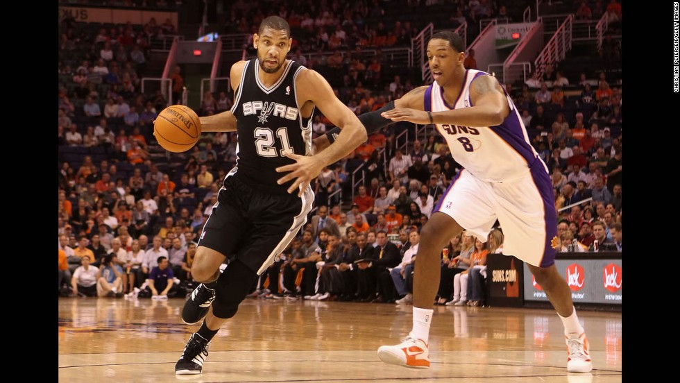 Duncan, seen here in a game against the Suns last season, cares only about basketball, according to bloggers and analysts who cover the league. All the press and media attention is secondary to the objective of winning games.