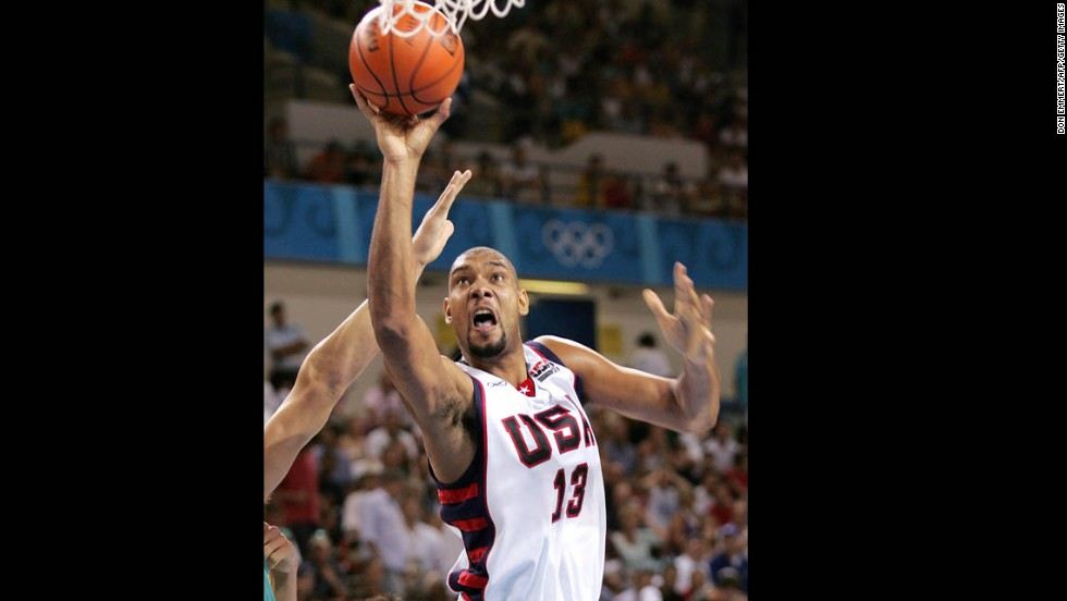 Duncan goes to the hoop against Australia in the 2004 Olympics in Athens, Greece. The U.S. team went on to win bronze in that competition. It was the only Olympics in which Duncan played.
