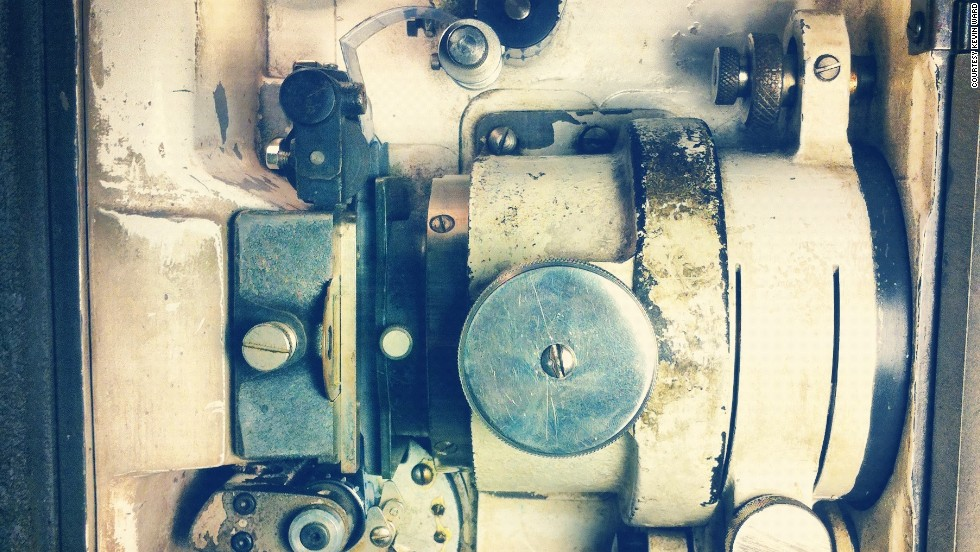 The inside of a Century JJ film projector, showing the gate and trap. Atlanta's Landmark Midtown Art Cinema, which used this projector, went digital last fall.
