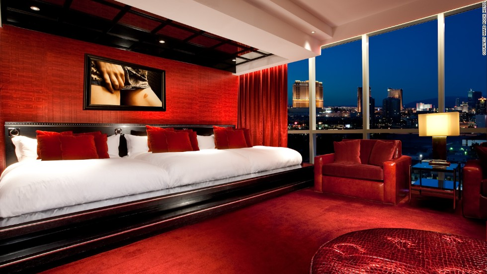 "Checking into the Provocateur Suite means you're not just fooling around. Actually, it sort of does. Features include mirrored ceilings and an interactive video wall that projects figures ""writhing wantonly"" on the bed while erotic themes rotate behind the headboard."
