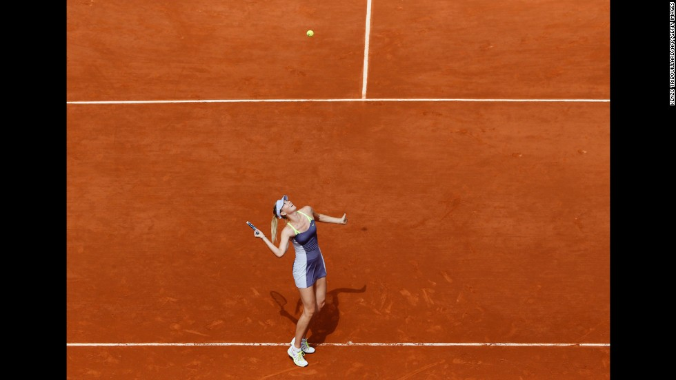 Russia's Maria Sharapova serves to China's Jie Zheng during the third round match June 1. Sharapova won 6-1, 7-5.