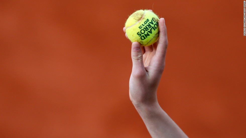 A ball boy holds a ball during a third round match a on June 1.