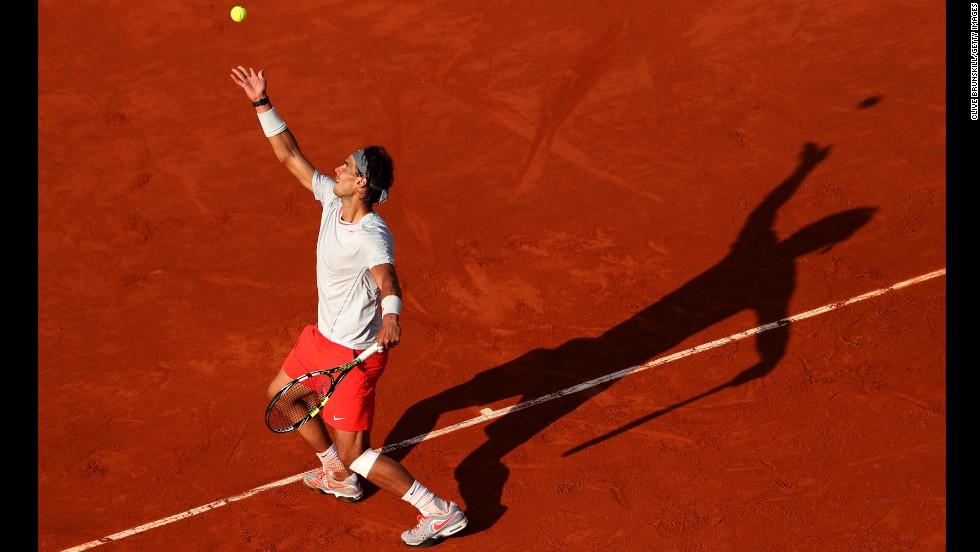 Rafael Nadal of Spain serves to Fabio Fognini of Italy on June 1.