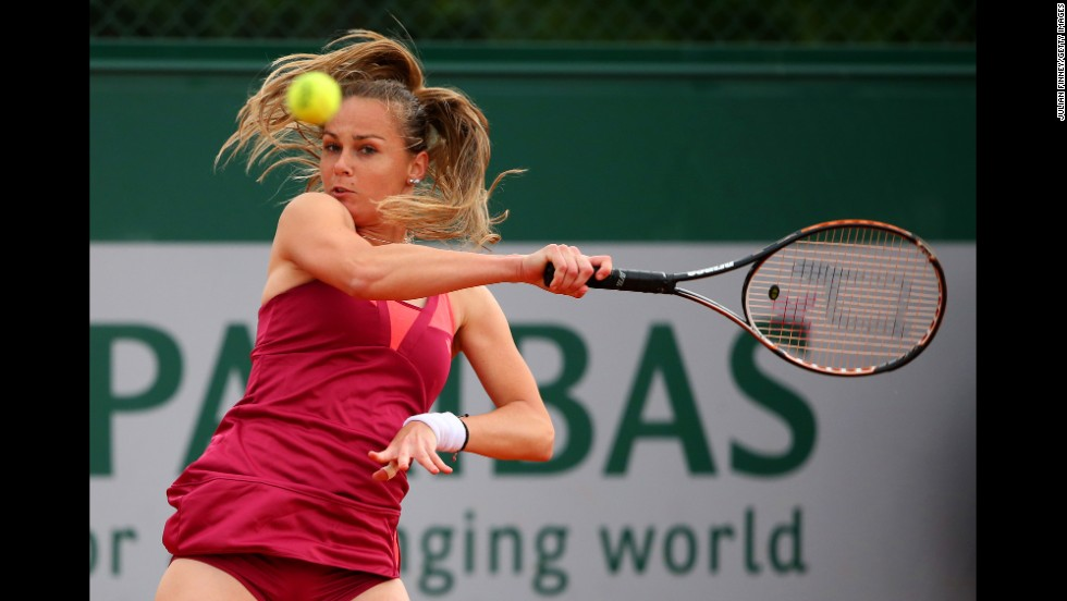 Magdalena Rybarikova of Slovakia plays a forehand during the Women's Doubles match with Romania's Irina-Camelia Begu against U.S.'s Varvara Lepchenko of America and China's Saisai Zheng. Lepchenko and Jurak defeated Rybarikova and Begu 3-6 7-6(9) 6-3 .