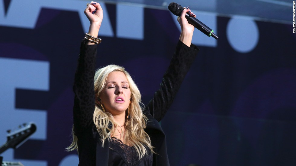 Singer Ellie Goulding performs. According to the Chime for Change website, the proceeds from ticket sales will go entirely to projects aimed to improve the lives of girls and women across the globe.