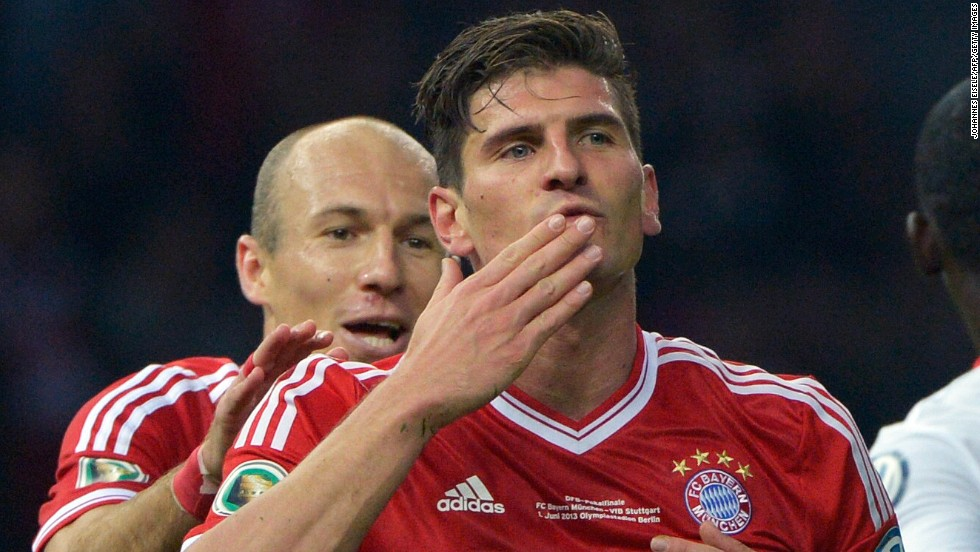 Striker Mario Gomez made the most of a rare starting chance as he scored two second-half goals, but the Germany international is expected to be sold when new coach Pep Guardiola takes over from Heynckes.