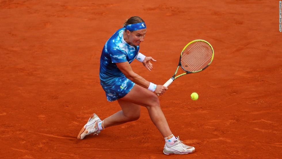 Kuznetsova hits a backhand during her match against Kerber on June 2.