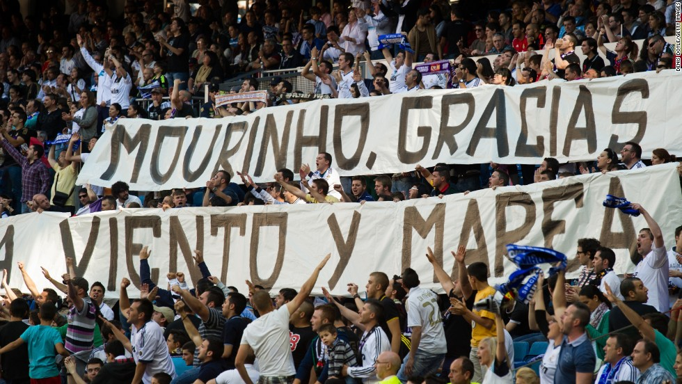 "Though he was booed by some sections of the smaller than usual crowd, Mourinho did have some support from the Spanish club's ""ultra"" hardcore fans."
