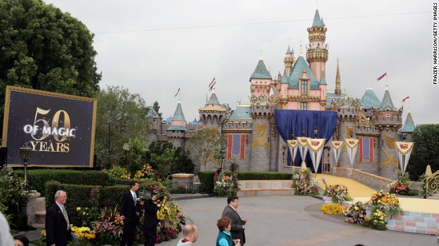 A photo of Sleeping Beauty Castle during the Disneyland 50th Anniversary Celebration in 2005.