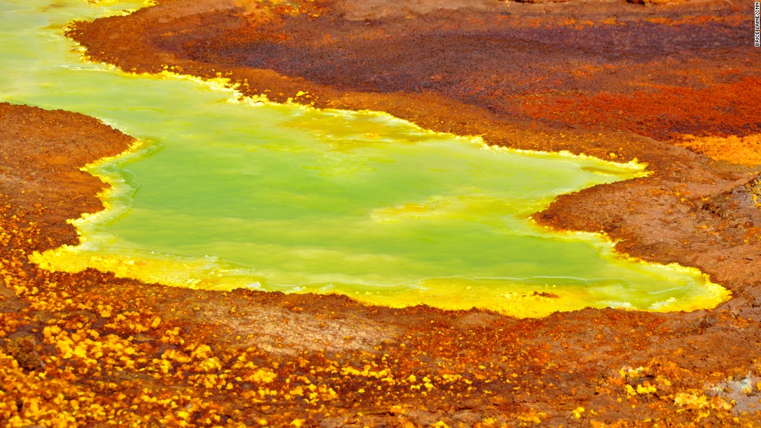 The inhospitable terrain of the Ethiopia's desert basin also features many acid pools.