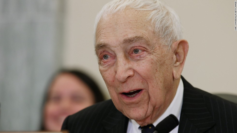 Sen. Frank Lautenberg, D-New Jersey, passed away on Monday, June 3.  Here, he presides over a hearing on Superstorm Sandy in Washington on December 6, 2012.