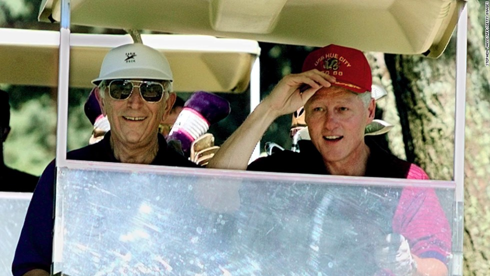 President Bill Clinton and Lautenberg play golf on vacation in Martha's Vineyard on August 26, 1997.