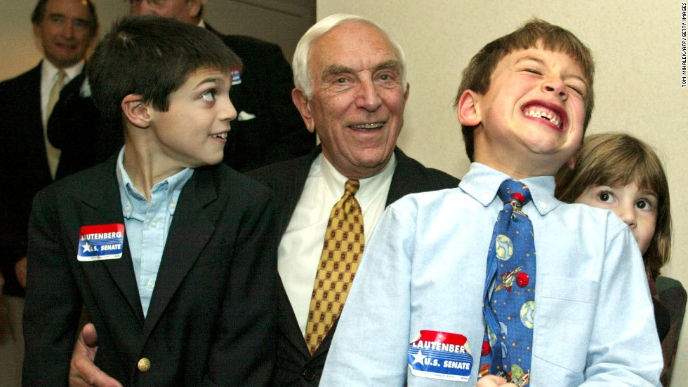 Lautenberg watches early voting returns with his grandchildren in New Brunswick, New Jersey, on November 5, 2002.