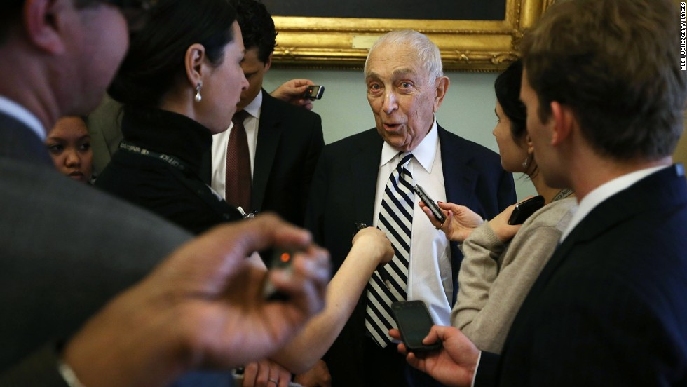 Lautenberg speaks to the press at the weekly Senate Democratic Policy Luncheon at the U.S. Capitol on January 29, 2013.