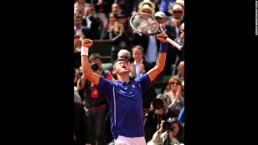 Djokovic celebrates match point against Kohlschreiber on June 3.  Djokovic defeated Kohlschreiber 4-6, 6-3, 6-4, 6-4.