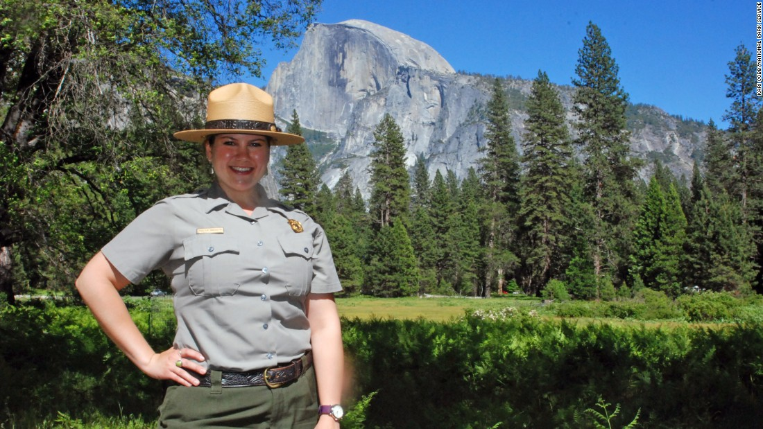 Meet our Yosemite National Park seasonal ranger, Kirsten Randolph, in Cook's Meadow with Half Dome in the background.